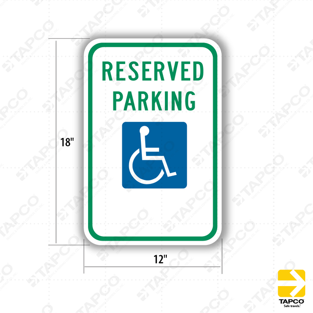 Reserved Parking With Ada Handicap Symbol No Arrow Sign R7 8