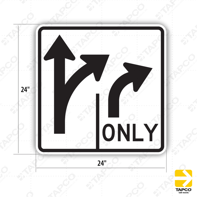 Double Lane Control Straight Right Turn Arrow Symbol With Right